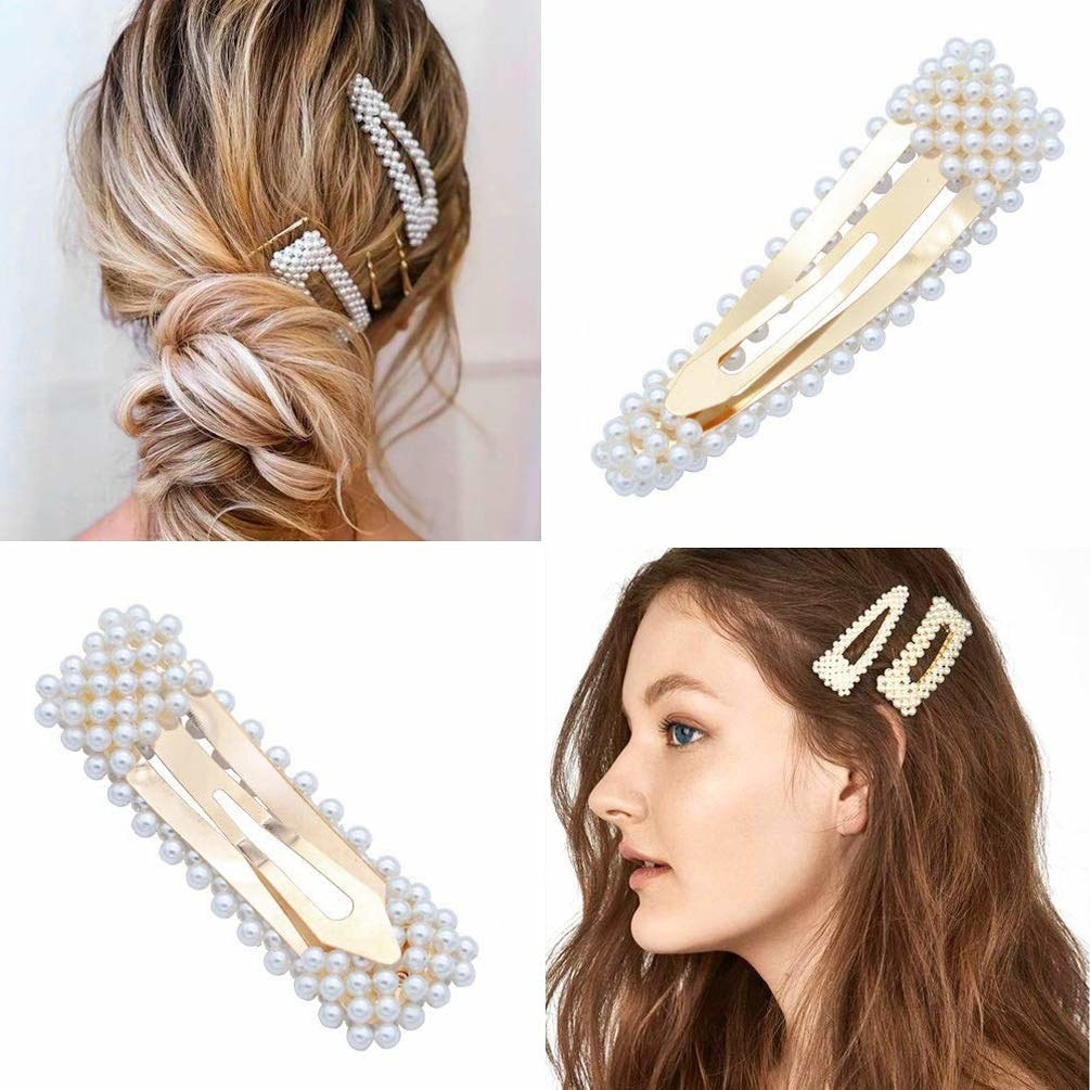 A collage of photos showing models wearing the clips in their hair along with close-up images of the clips