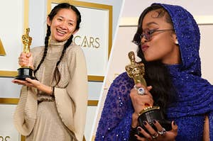 Chloe Zhao side by side with H.E.R, both holding their Oscars