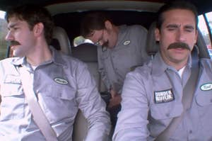 Jim, Dwight, and Michael in warehouse disguises and fake mustaches driving to utica