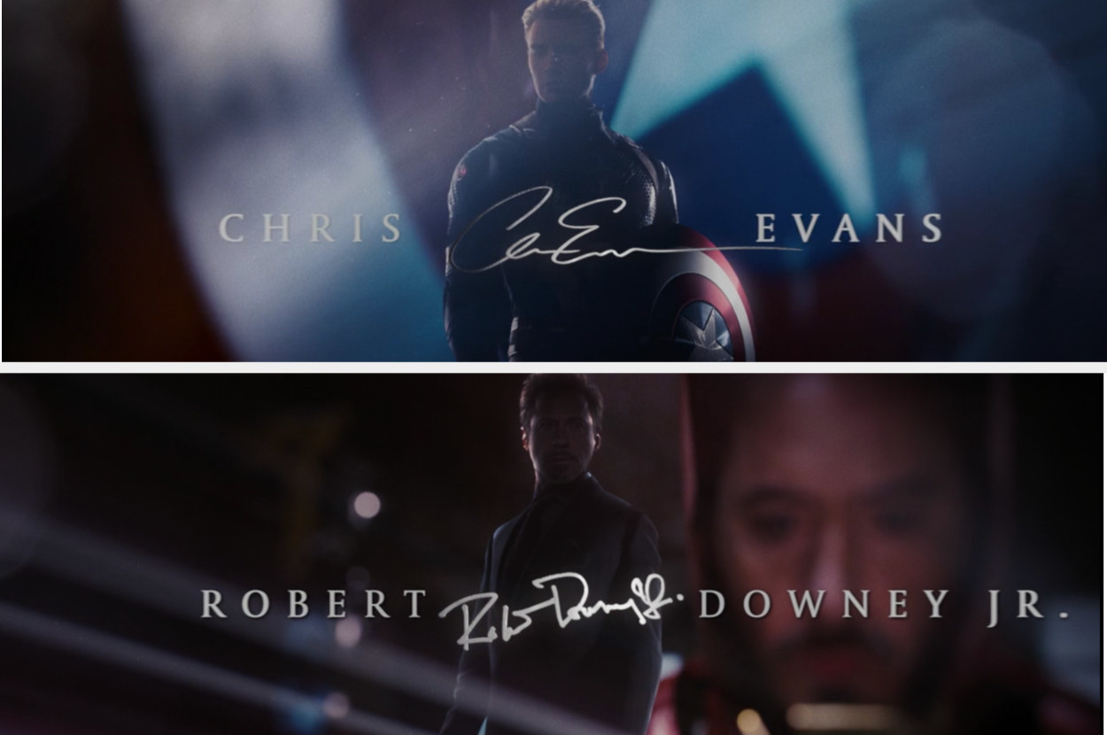 End credits images of Chris Evans and Robert Downey Jr.