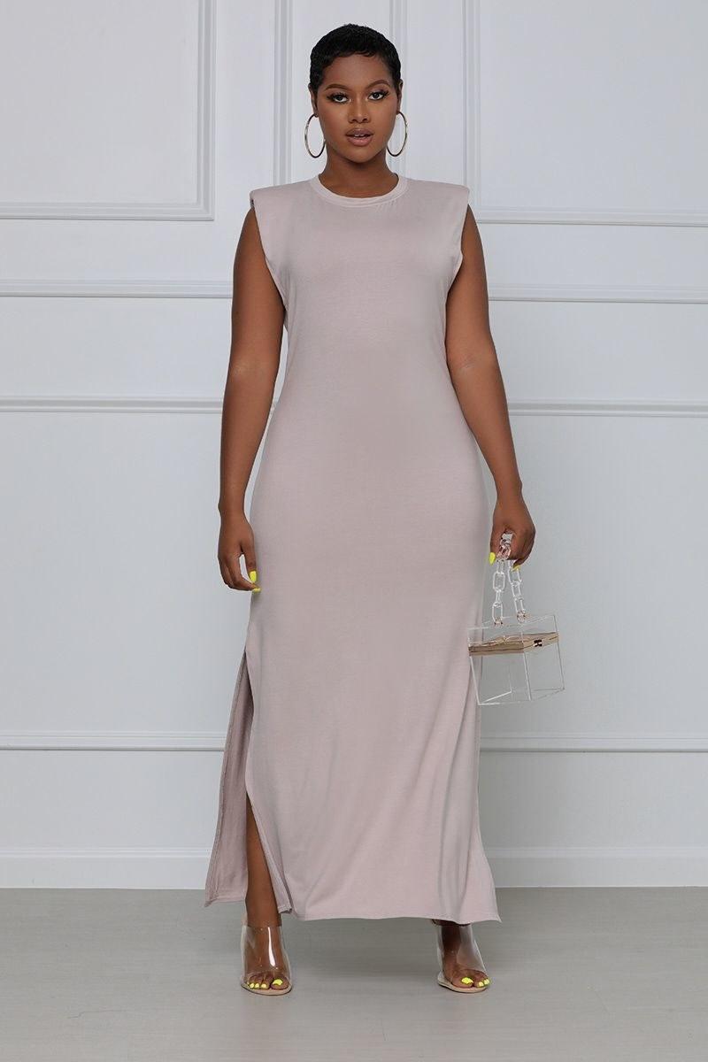 model in the gray-brown side slit dress