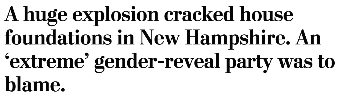 A huge explosion cracked house foundations in New Hampshire. An 'extreme' gender-reveal party was to blame.