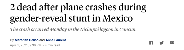 2 dead after plane crashes during gender-reveal stunt in Mexico