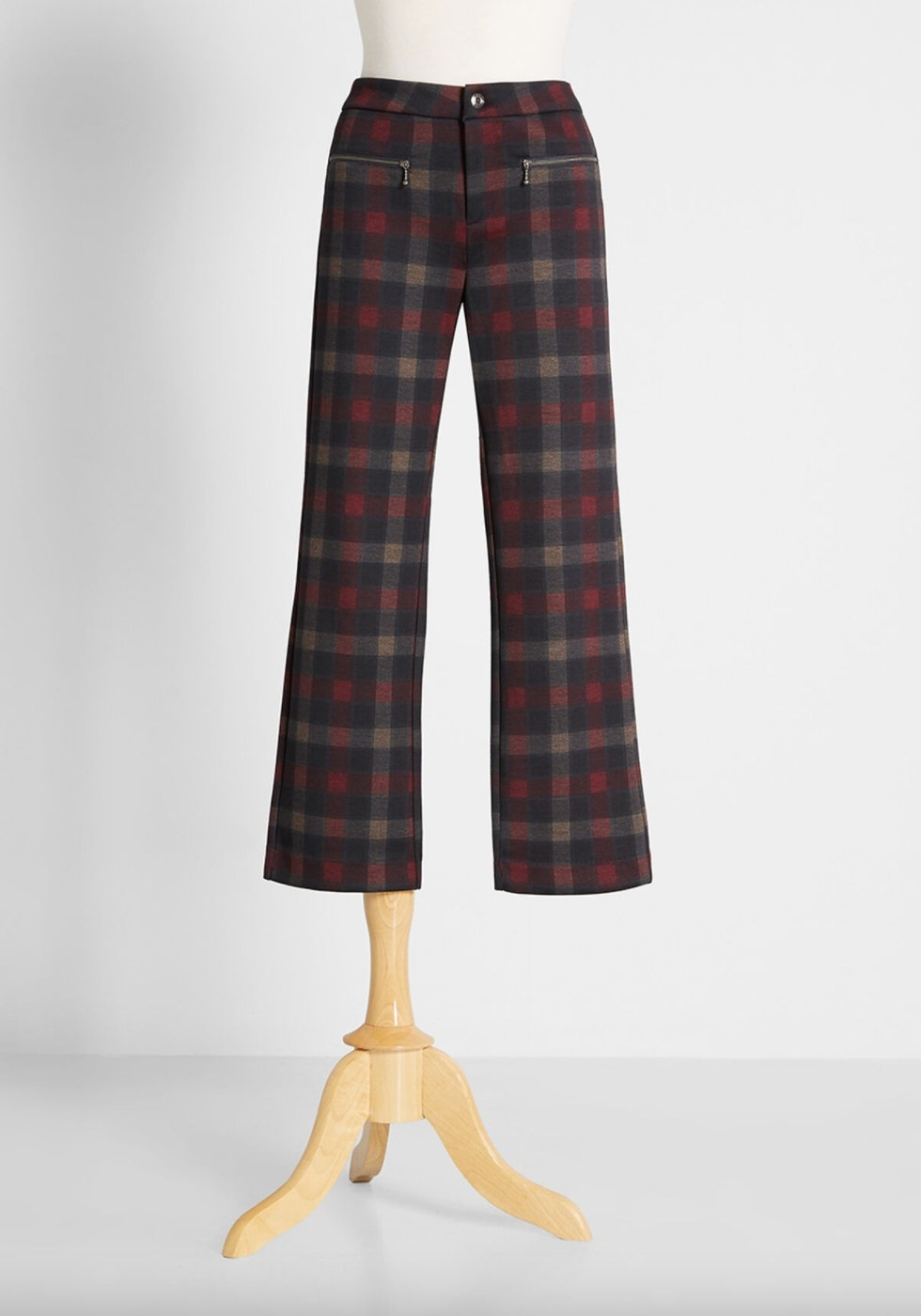 the red, navy, black, and gray plaid pants