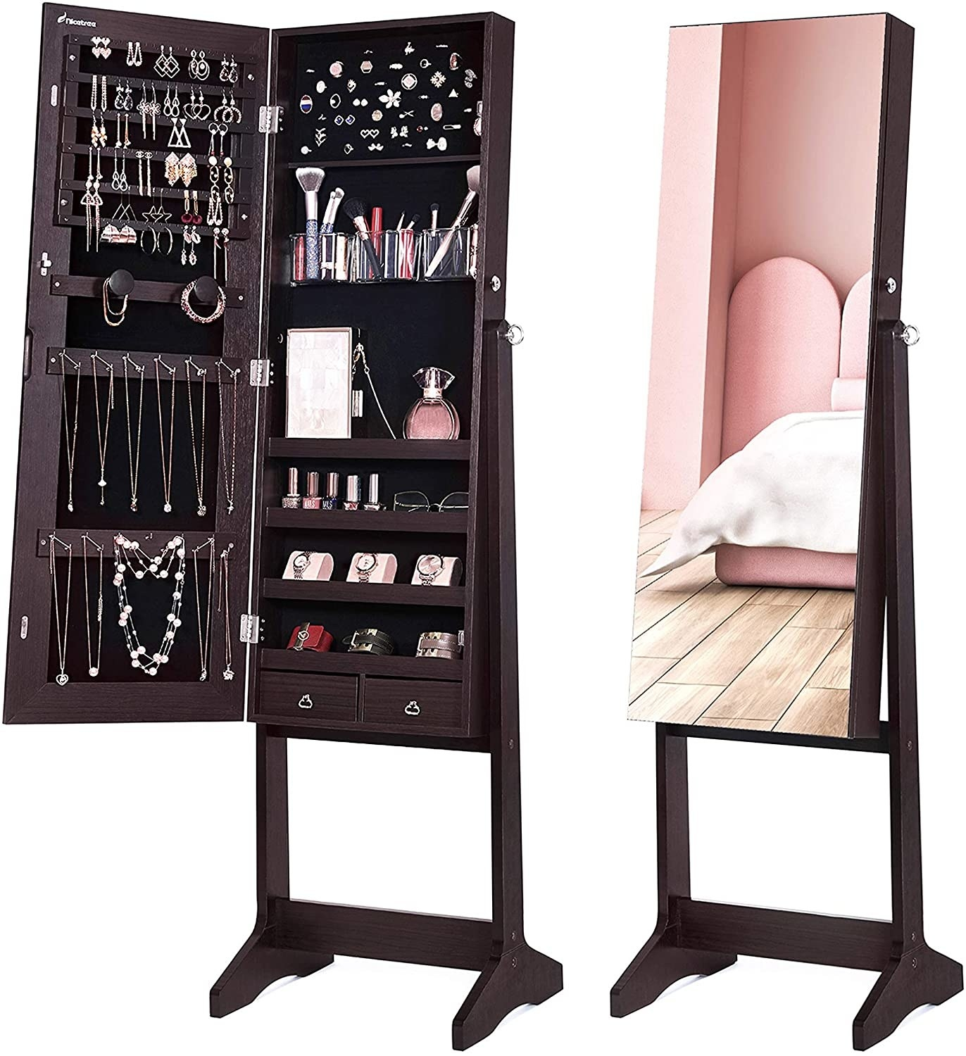 standing mirror with the inside revealing jewelry storage
