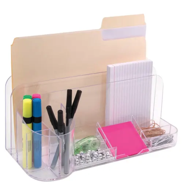 the clear organizer holding a file, note cards, sticky notes, rubber bands, paper clips, pins, highlighters, and pens