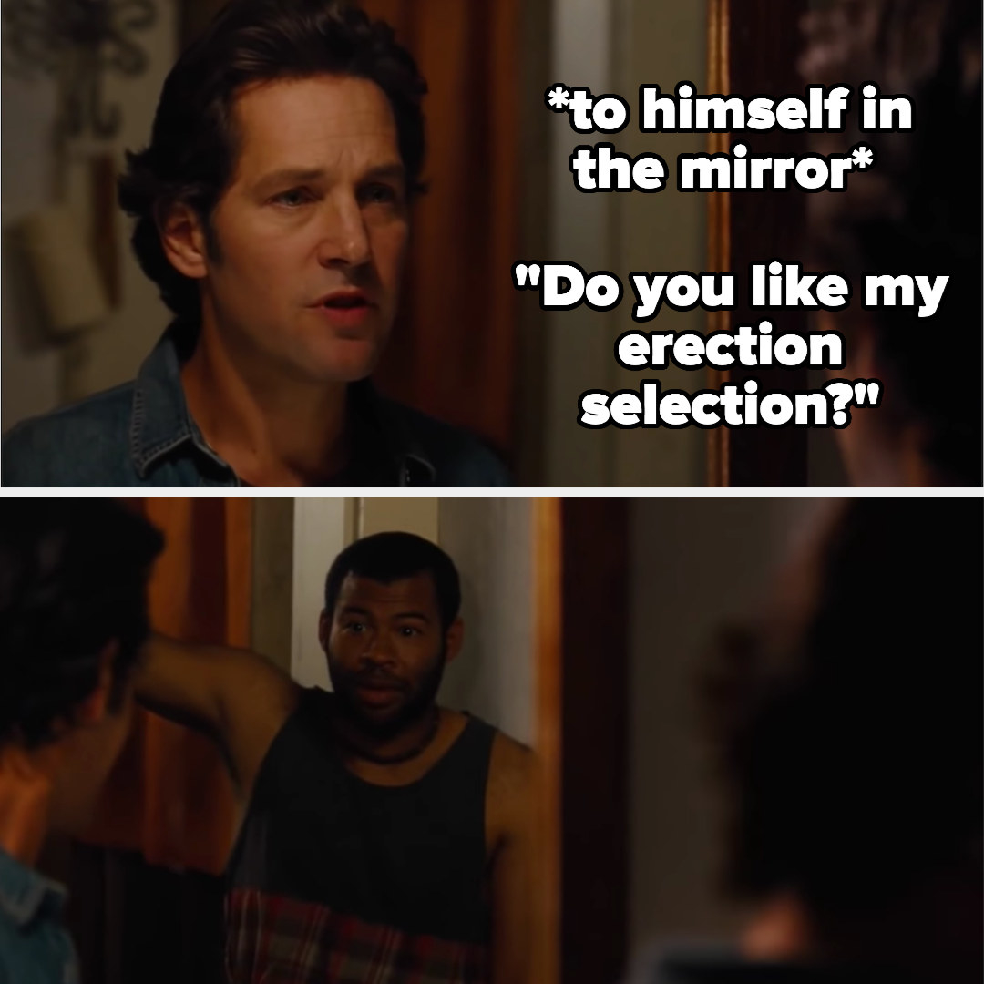 Paul Rudd practices dirty talk in the mirror, only to be caught by his roommate
