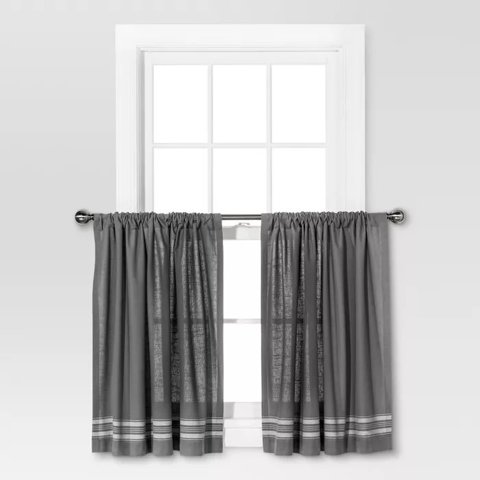 The gray curtains with stripes