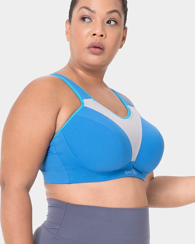 model wears blue sports bra