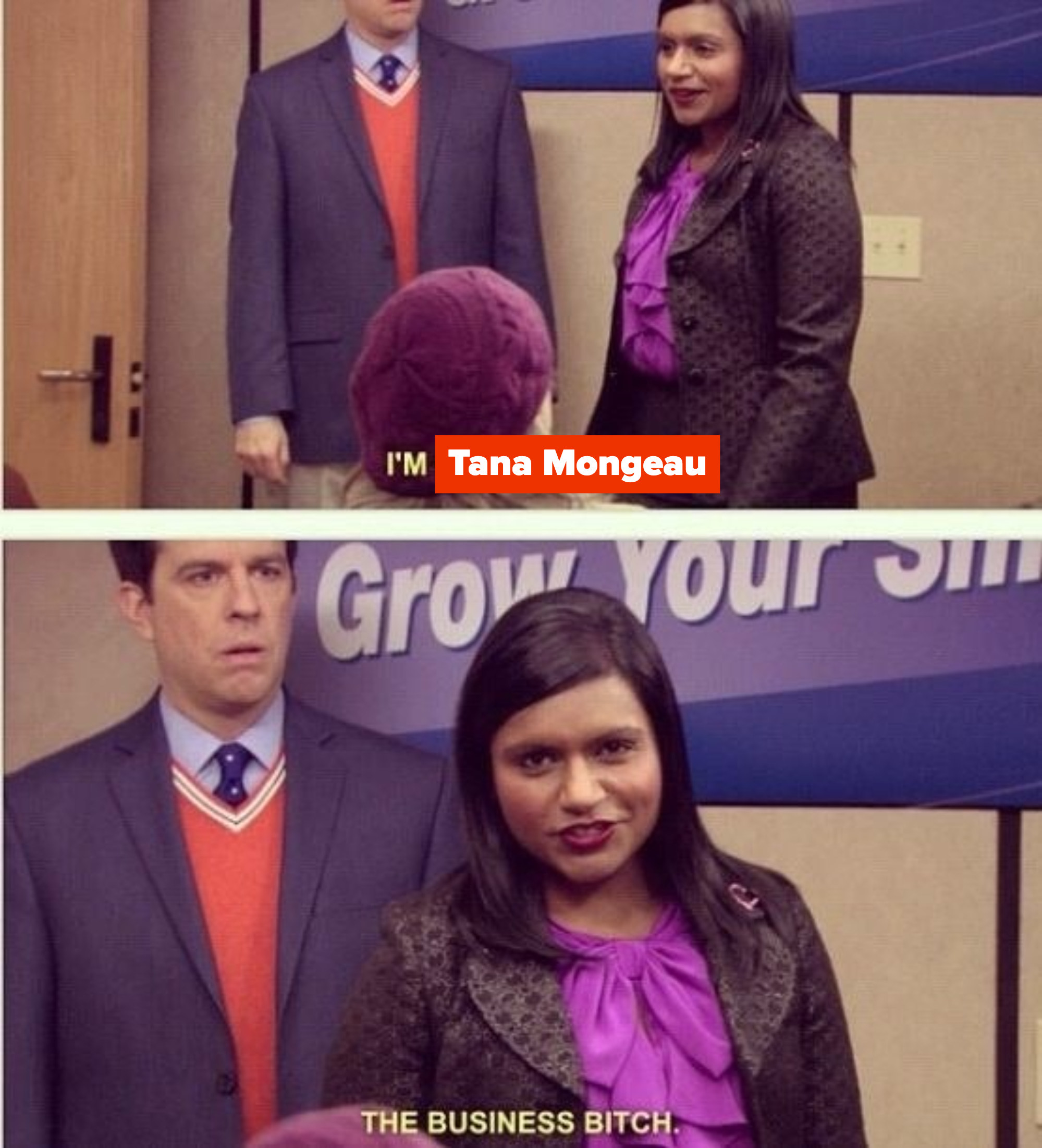 """Kelly Kapoor entering the room and saying that she's """"the business bitch"""""""