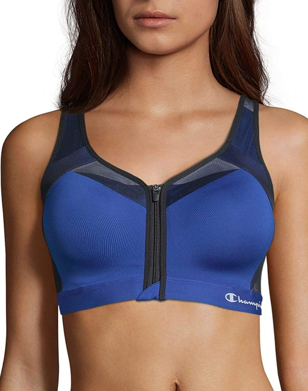 model wearing blue champion motion control sports bra