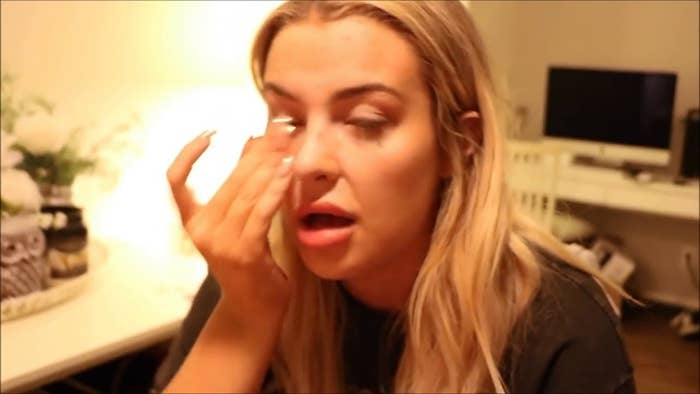Tana Mongeau crying in a vlog