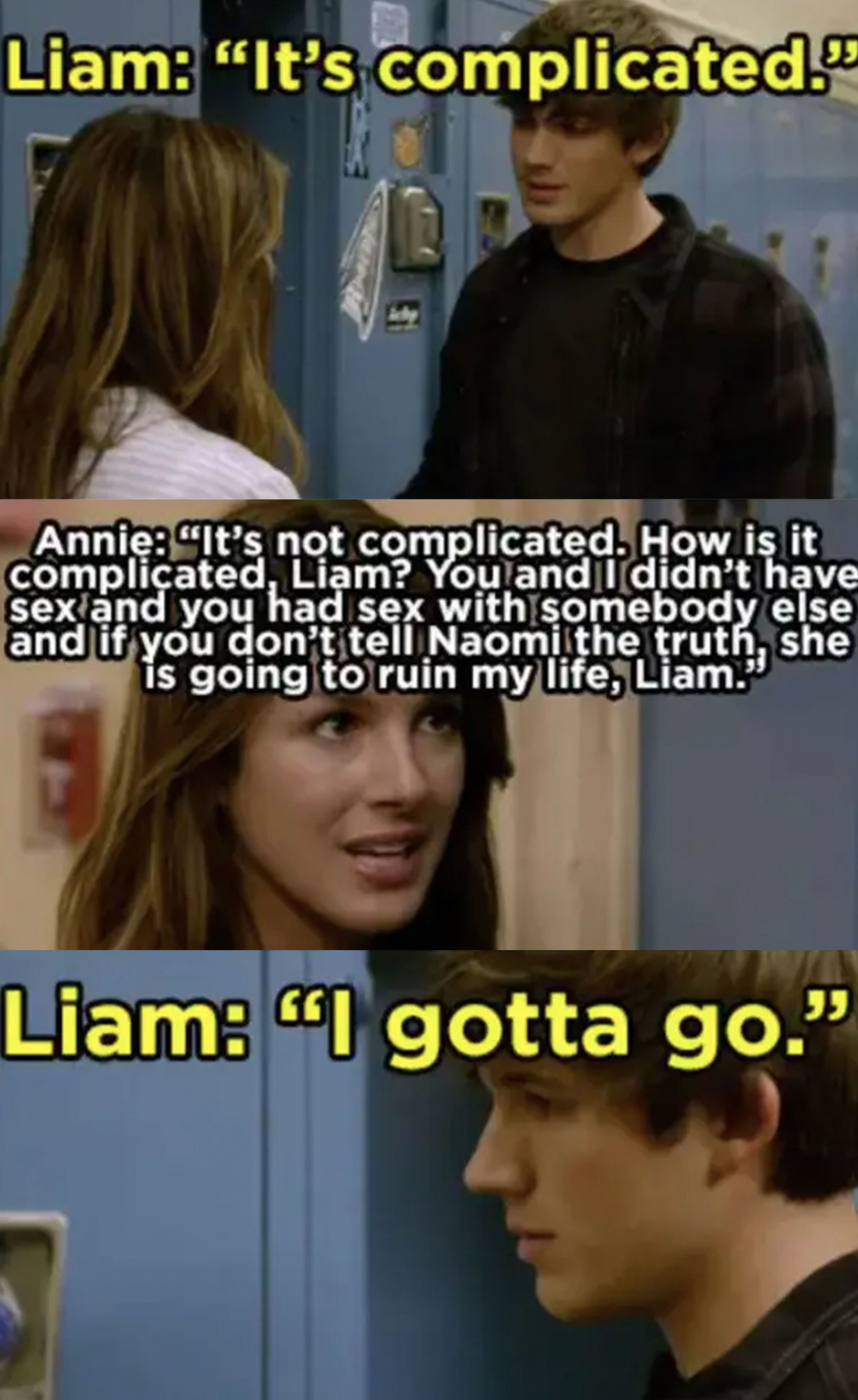 """Annie tells Liam Naomi is going to ruin her life if he doesn't tell the truth, Liam says it's """"complicated"""""""