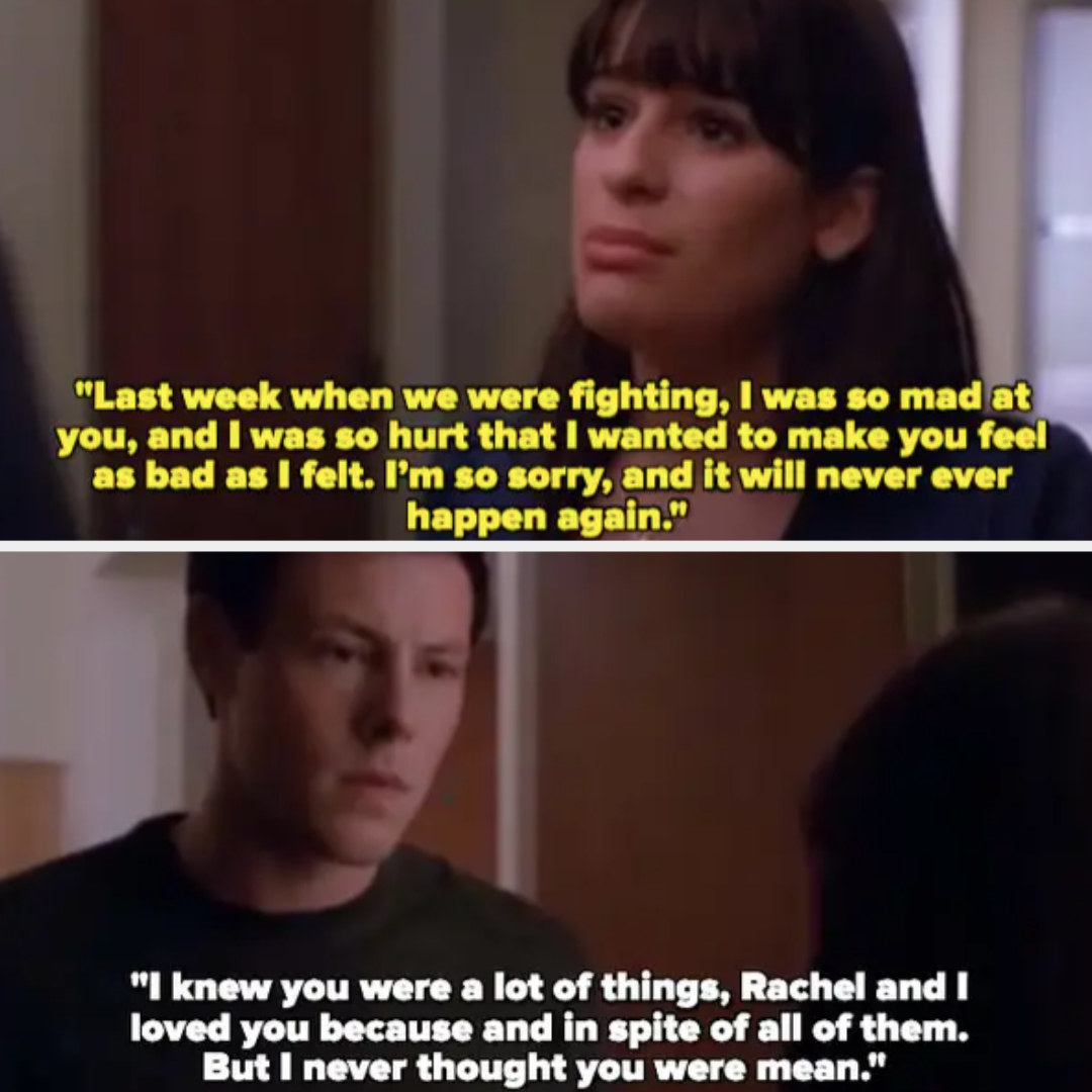 Rachel says she was hurt and just wanted to make Finn feel as bad as she felt, Finn says he knew she was a lot of things but never thought she was mean