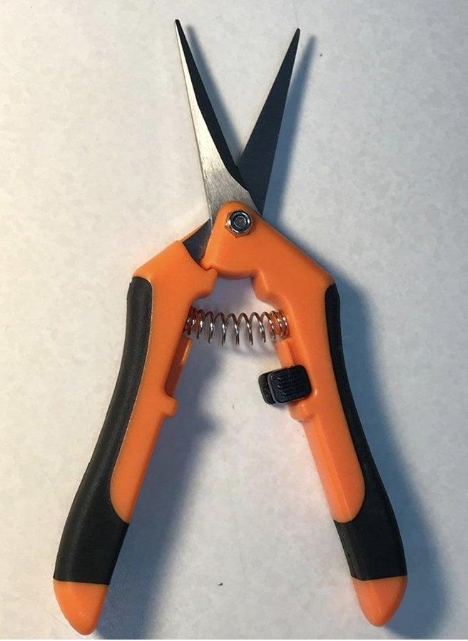 A reviewer's orange gardening shears