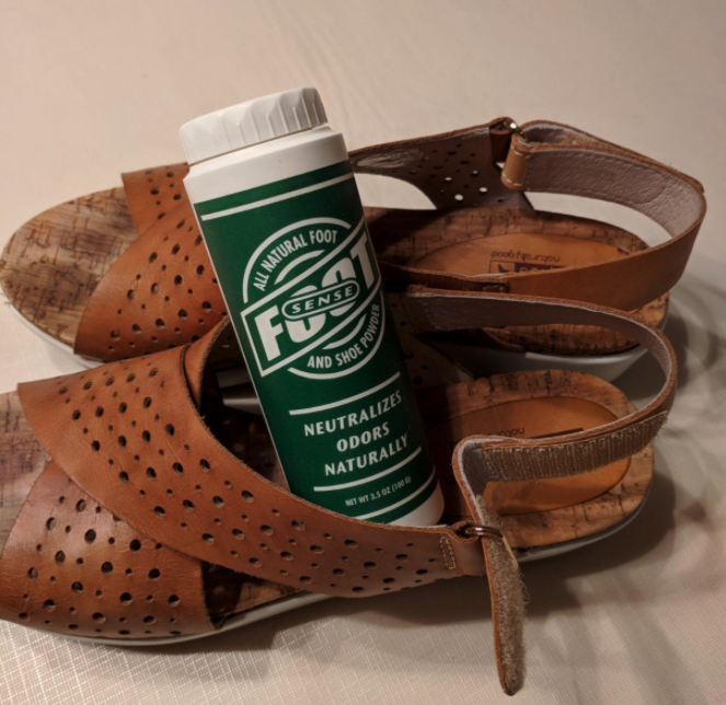 reviewer image of foot powder inside a pair of shoes