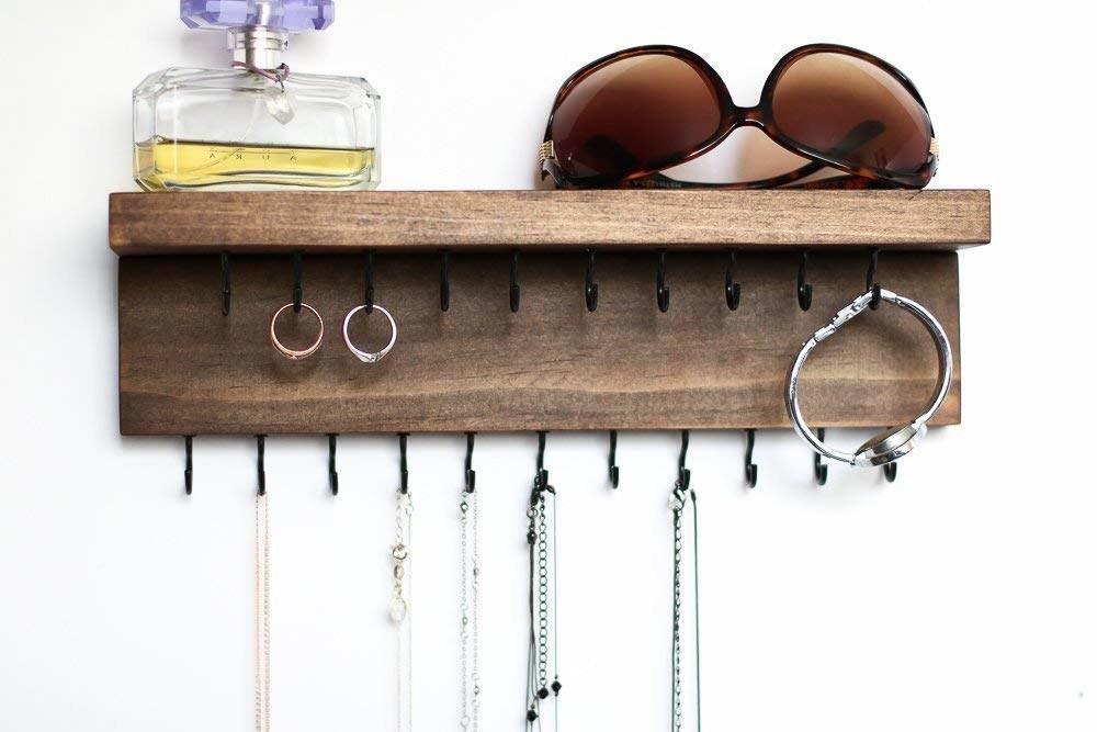 wood shelf with hooks for jewelry