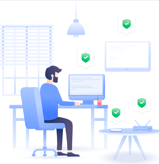 an illustration of a person using a computer with check marks