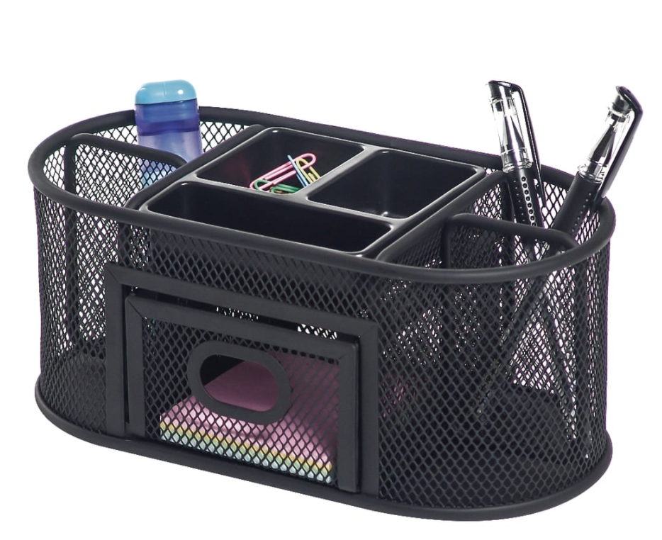mesh organizer with pen cups and drawers