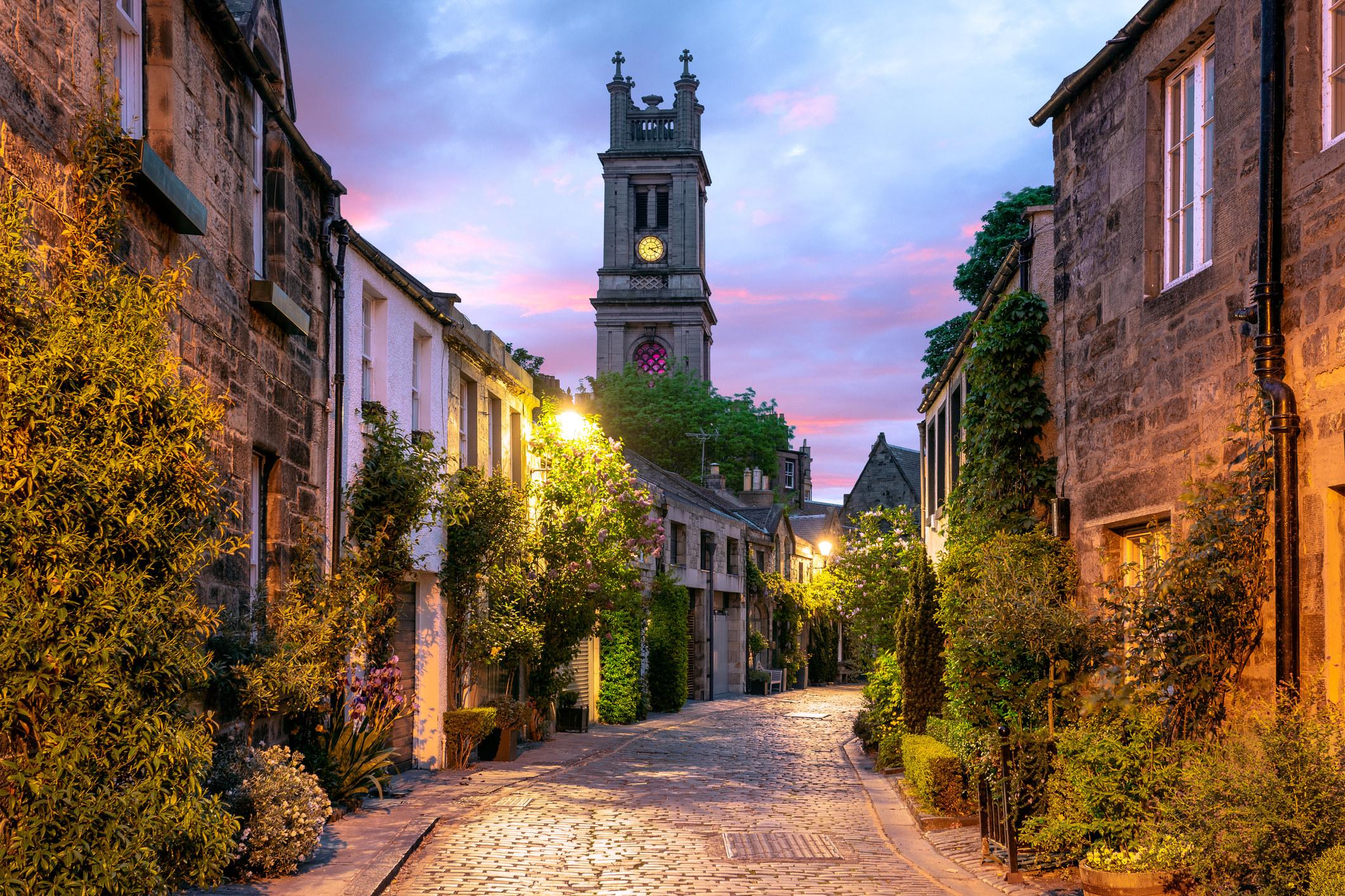A quaint street in Edinburgh, Scotland.