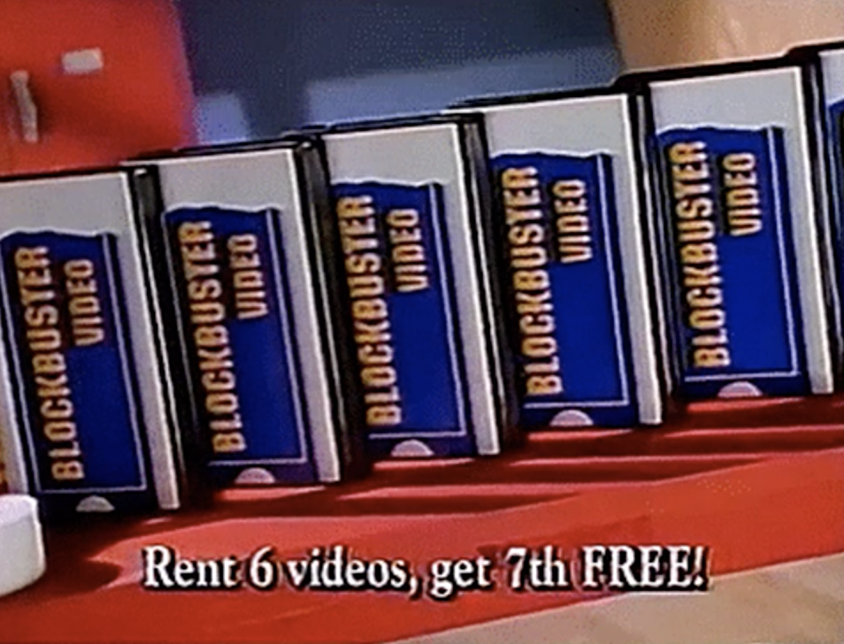A stack of Blockbuster videos