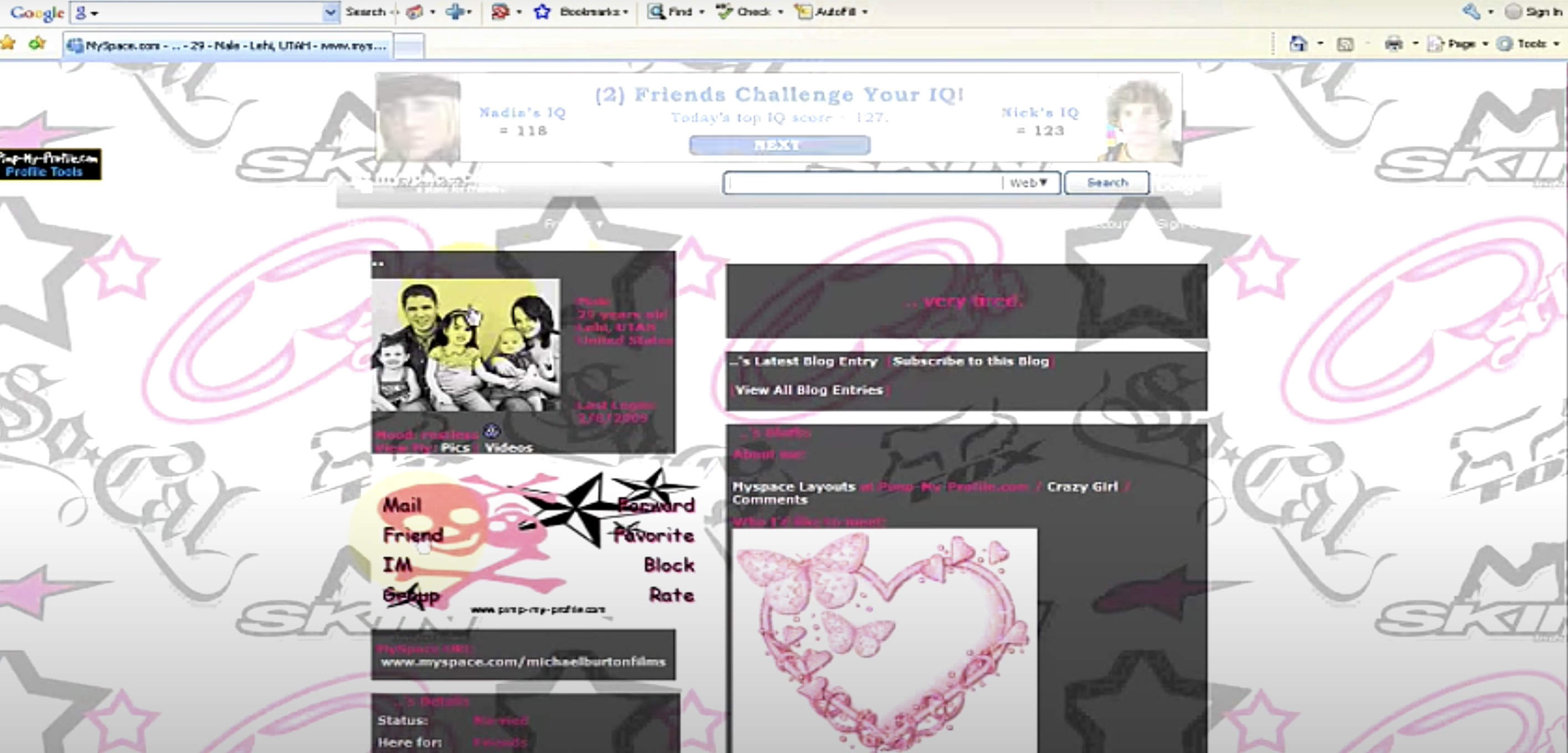The MySpace profile layout page