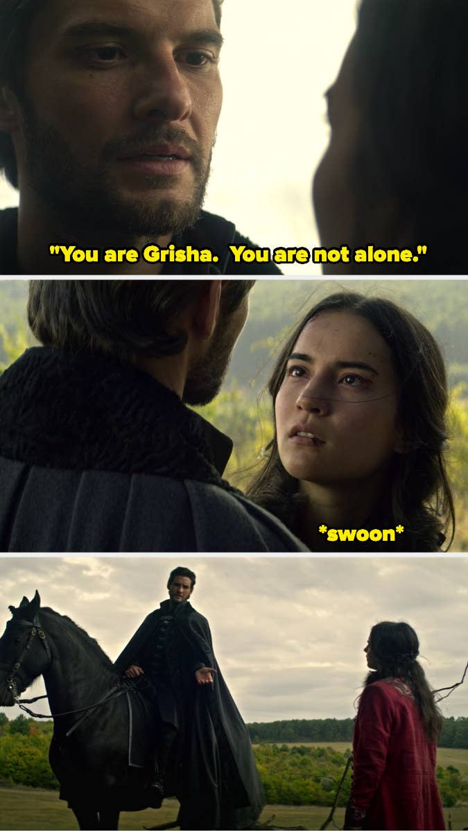 """(top) the Darkling tells Alina intensely, """"you are grisha, you are not alone;"""" (middle) Alina looks at him longingly; (bottom) the Darkling offers Alina his hand atop a horse"""