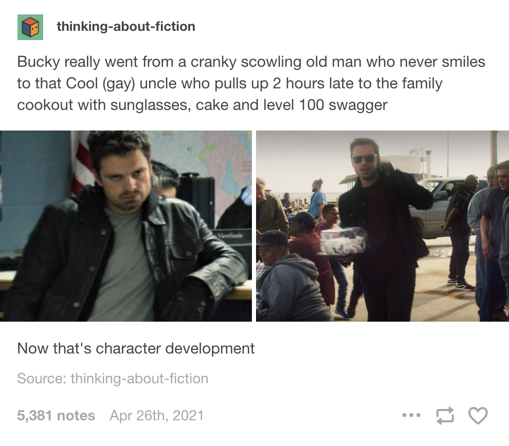 "grumpy bucky in episode on and happy cook out bucky in episode 6 with the text ""now that's character development"""
