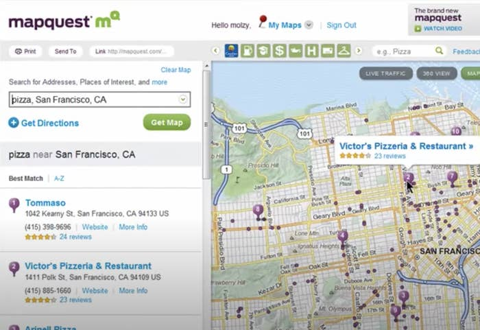 A screenshot of someone searching for pizza in San Francisco on MapQuest