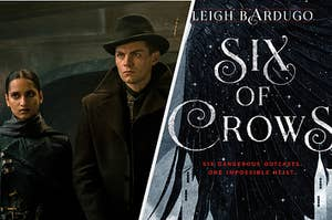 (left) Inej and Kaz look threatening; (right) the book cover of Six of Crows