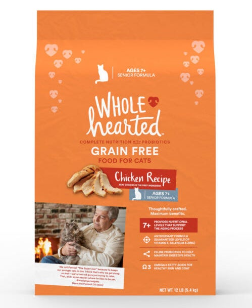 The grain-free chicken-flavored senior cat food formula