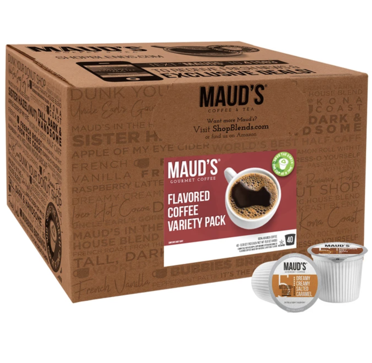 Box of Maud's Gourmet Coffee Flavored Coffee Variety Pack