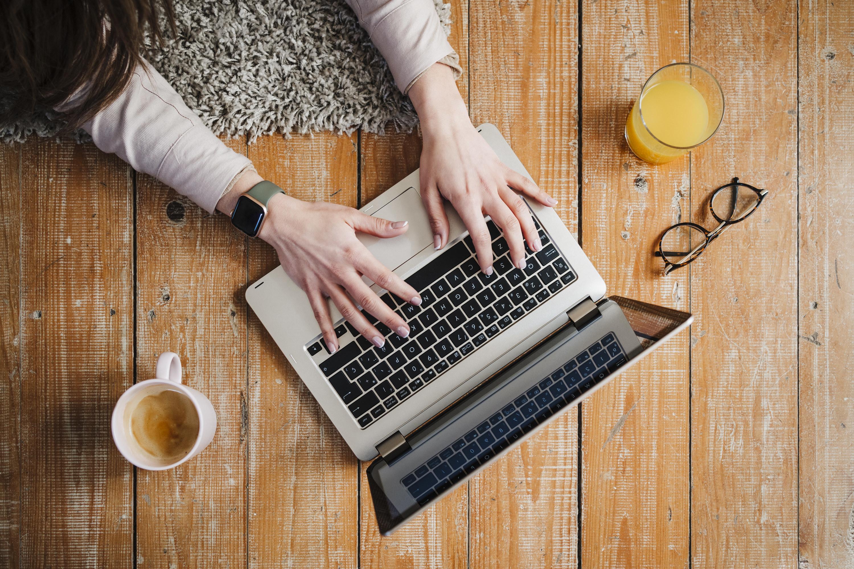 A woman on a laptop