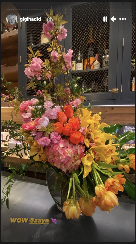 The bouquet of flowers that Zayn got Gigi