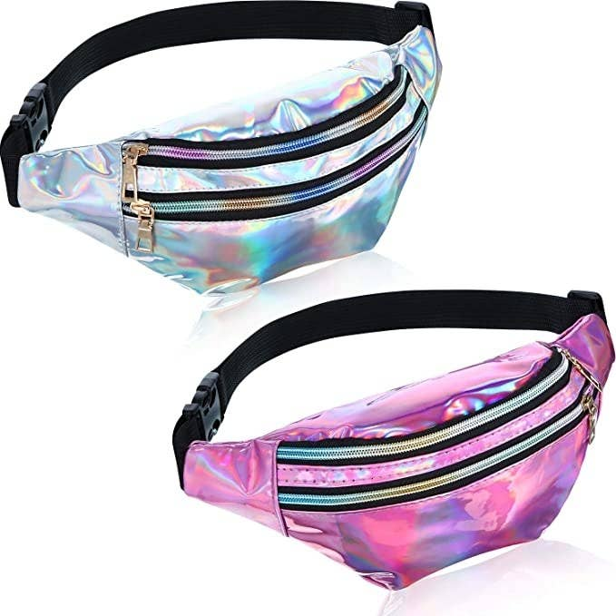 silver holographic fanny pack and then pink holographic fanny pack