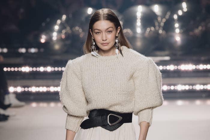 Gigi Hadid at Paris Fashion Week in February 2020
