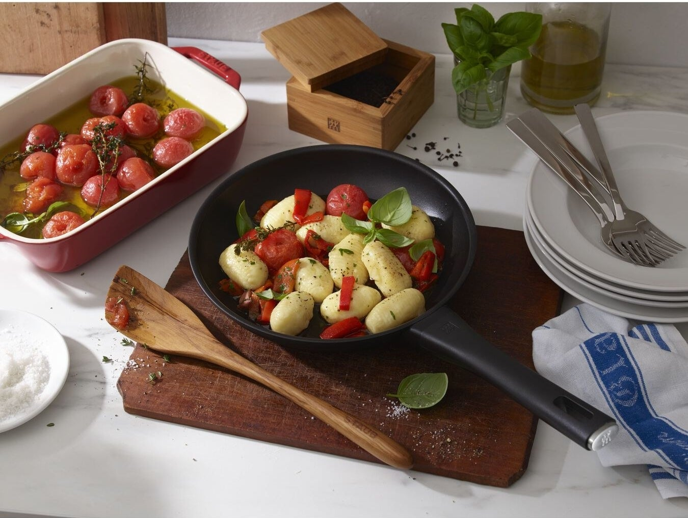 Zwilling frying pan with potatoes and veggies inside