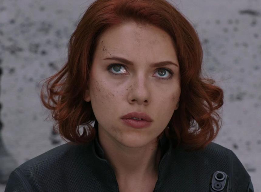 "Scarlett Johansson as Natasha Romanoff in the movie ""The Avengers."""