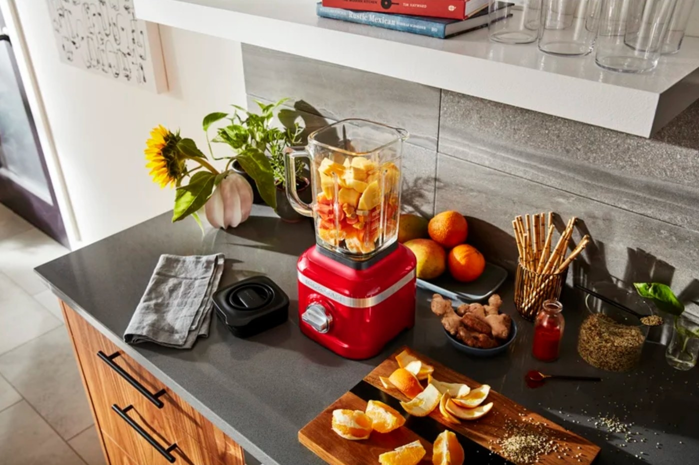 The ice crushing countertop blender in passion red
