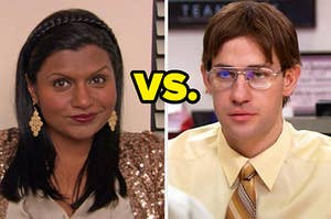 Kelly versus Jim dressed as Dwight