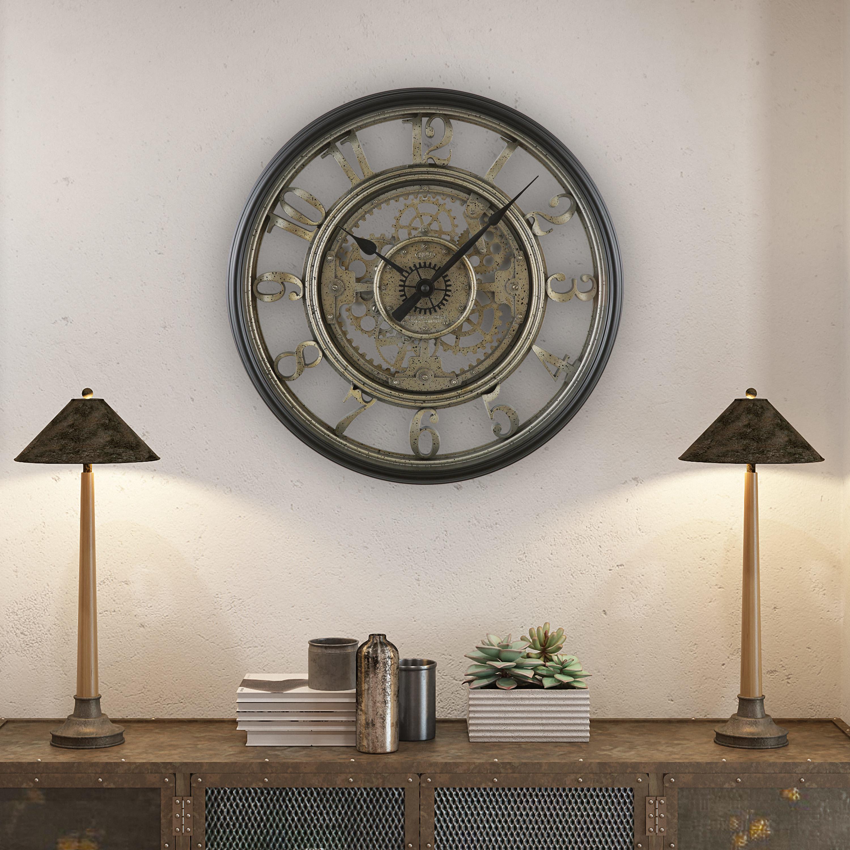 A modern silver clock in a home