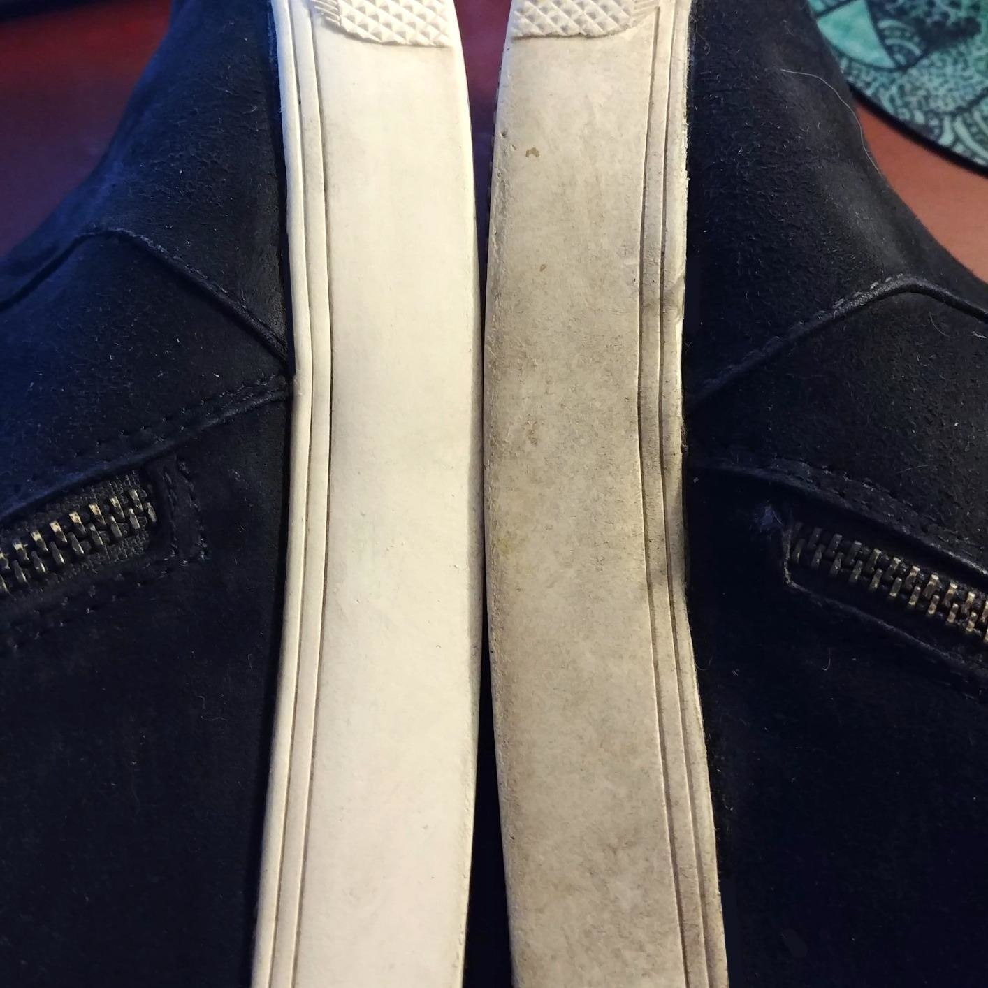 reviewer image of two shoes side by side; one has a white sole and the other a dirty, grey sole