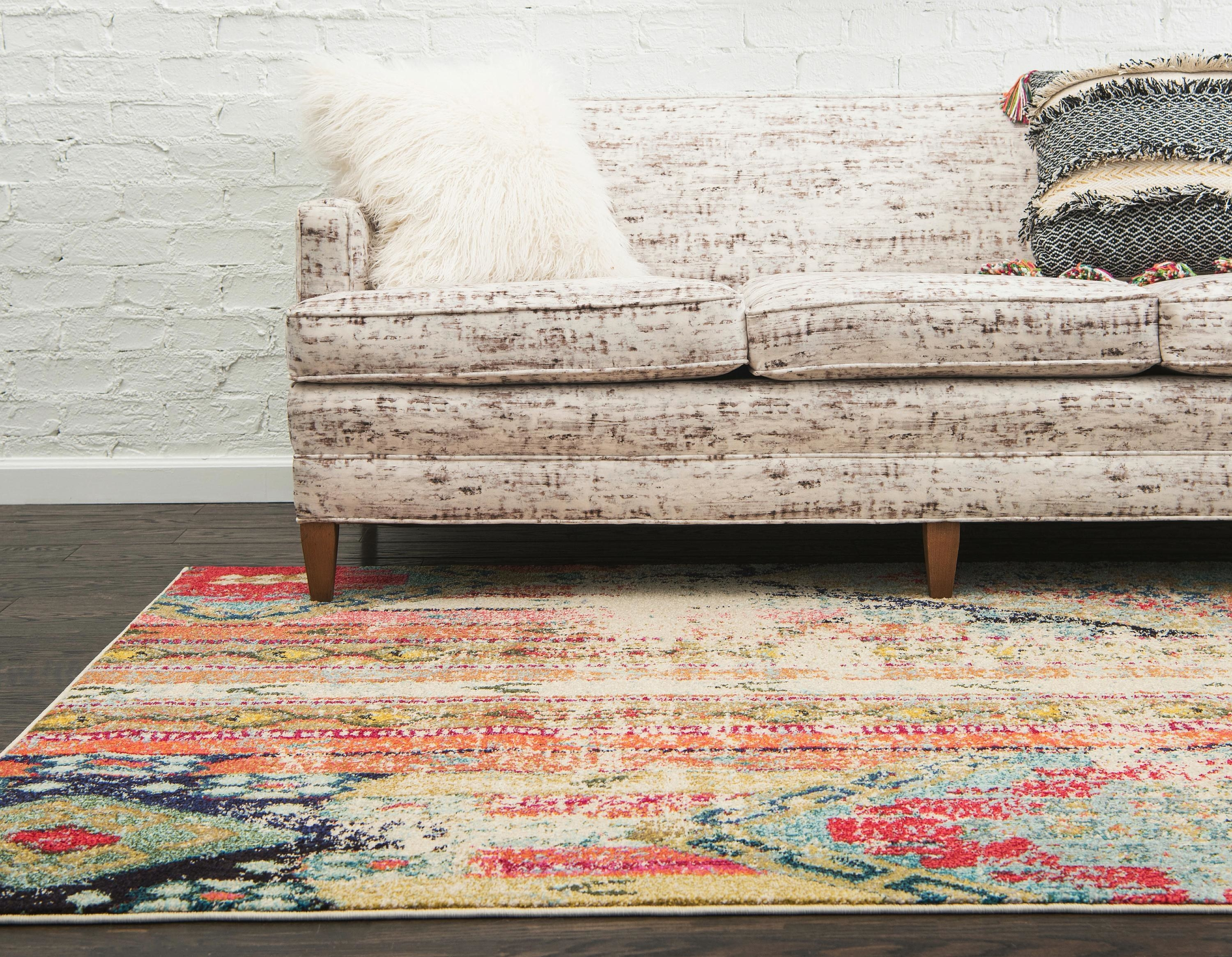 A colorful rug in a home