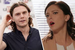 Horny woman staring longingly at Evan peters