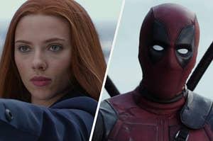 "Scarlett Johansson as Natasha Romanoff in the movie ""Captain America: The Winter Solider"" and Ryan Reynolds as Wade Wilson in the movie ""Deadpool."""