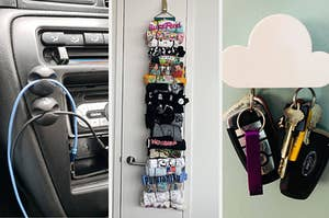 three panels showing cable clips mounted on a car dash, a vertical T-shirt roll holder, and a cloud-shaped magnetic key holder