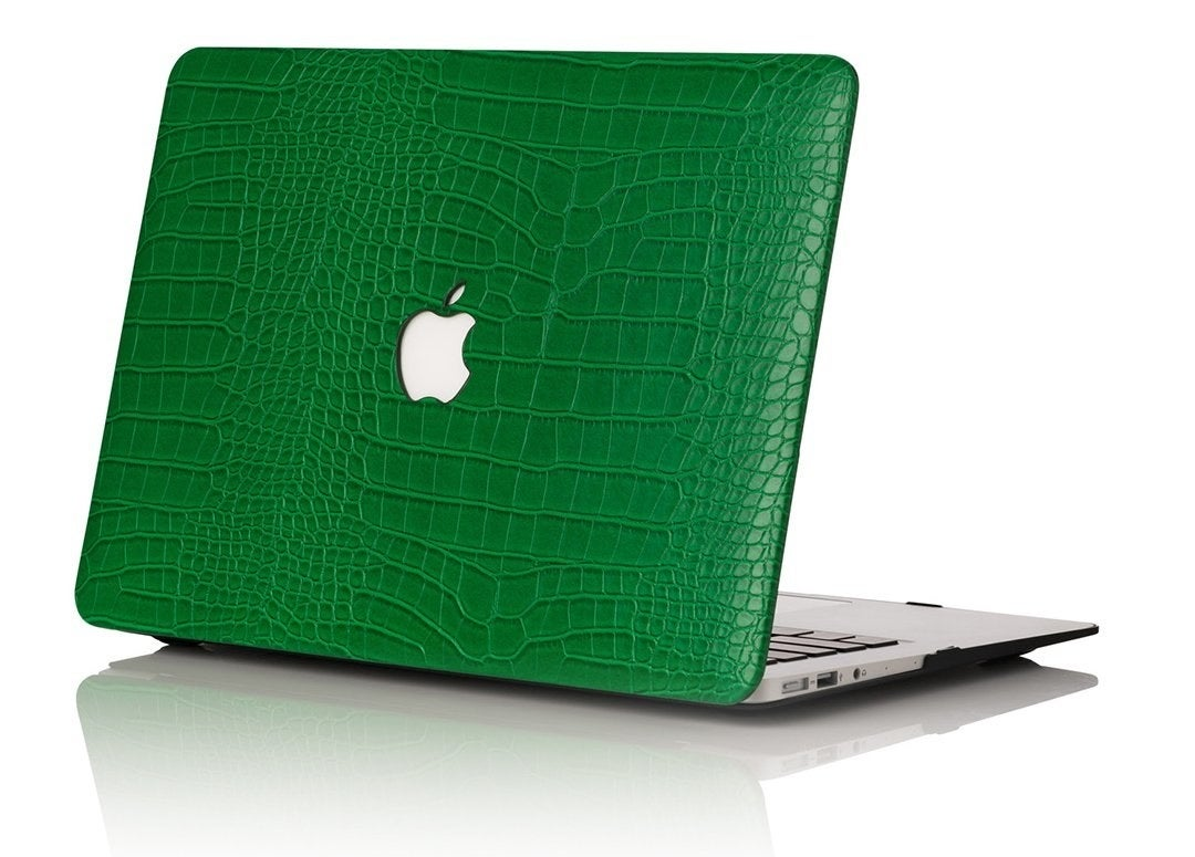 the green faux-croc case on a MacBook