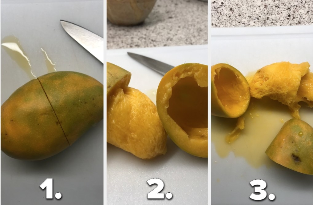Three phases of a mango being cut