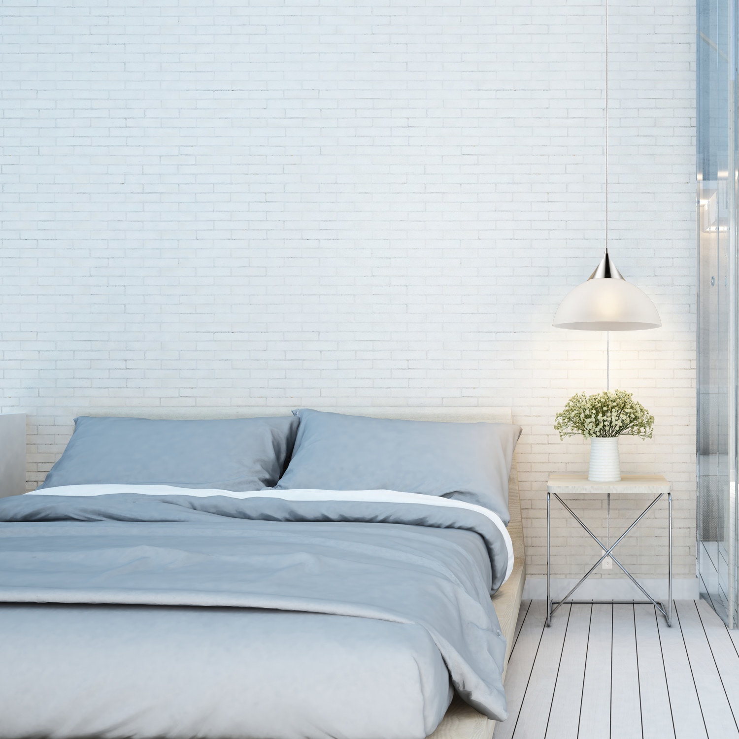 A pendant light in a bedroom