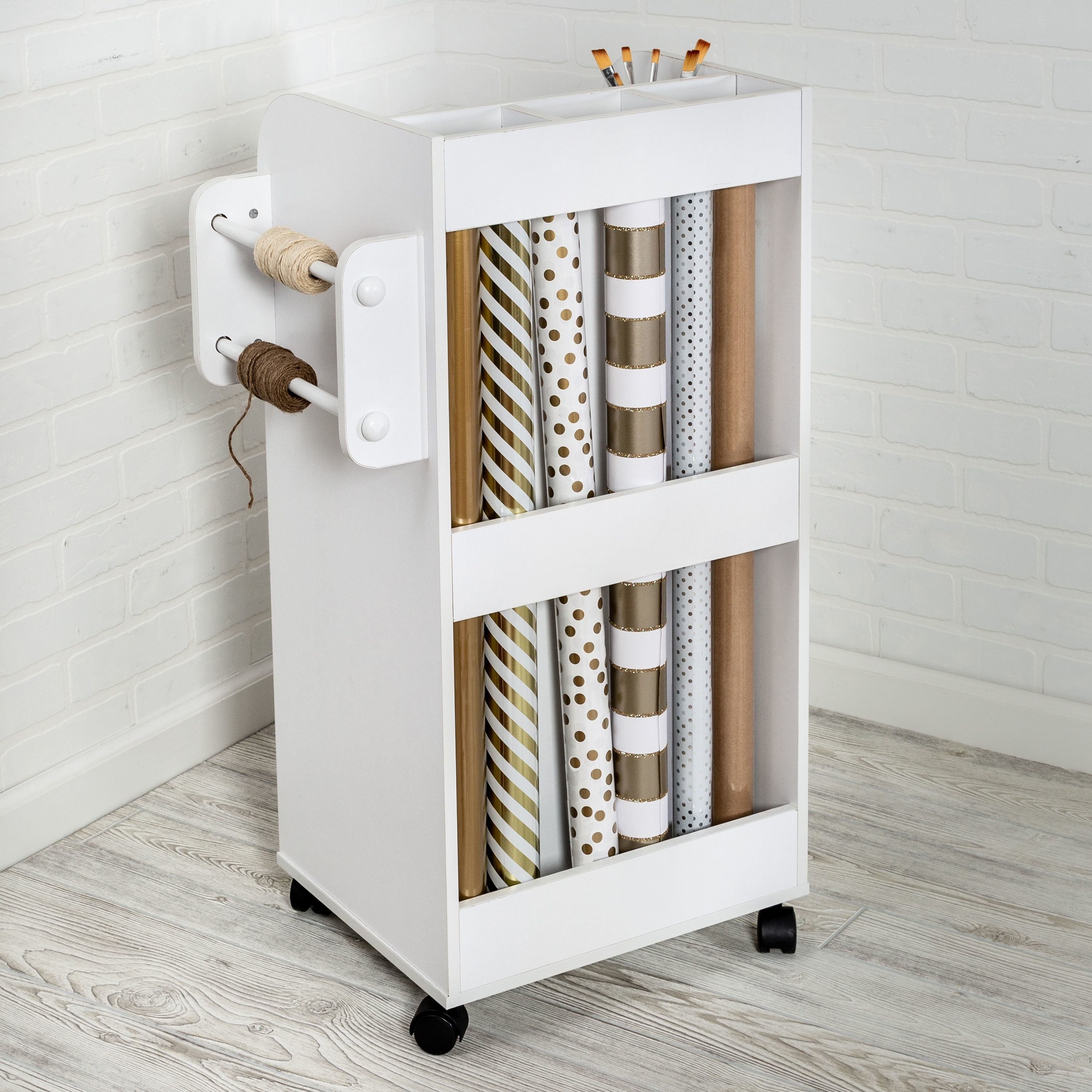 A crafting cart in a home